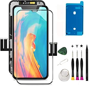 Oli & Ode for iPhone 11 Screen Replacement iPhone 11 Replacement Screen iPhone 11 LCD Screen Replacement LCD Digitizer Assembly with 3D Touch+Screen Protector+Waterproof Glue A2111 A2223 A2221 (Black)