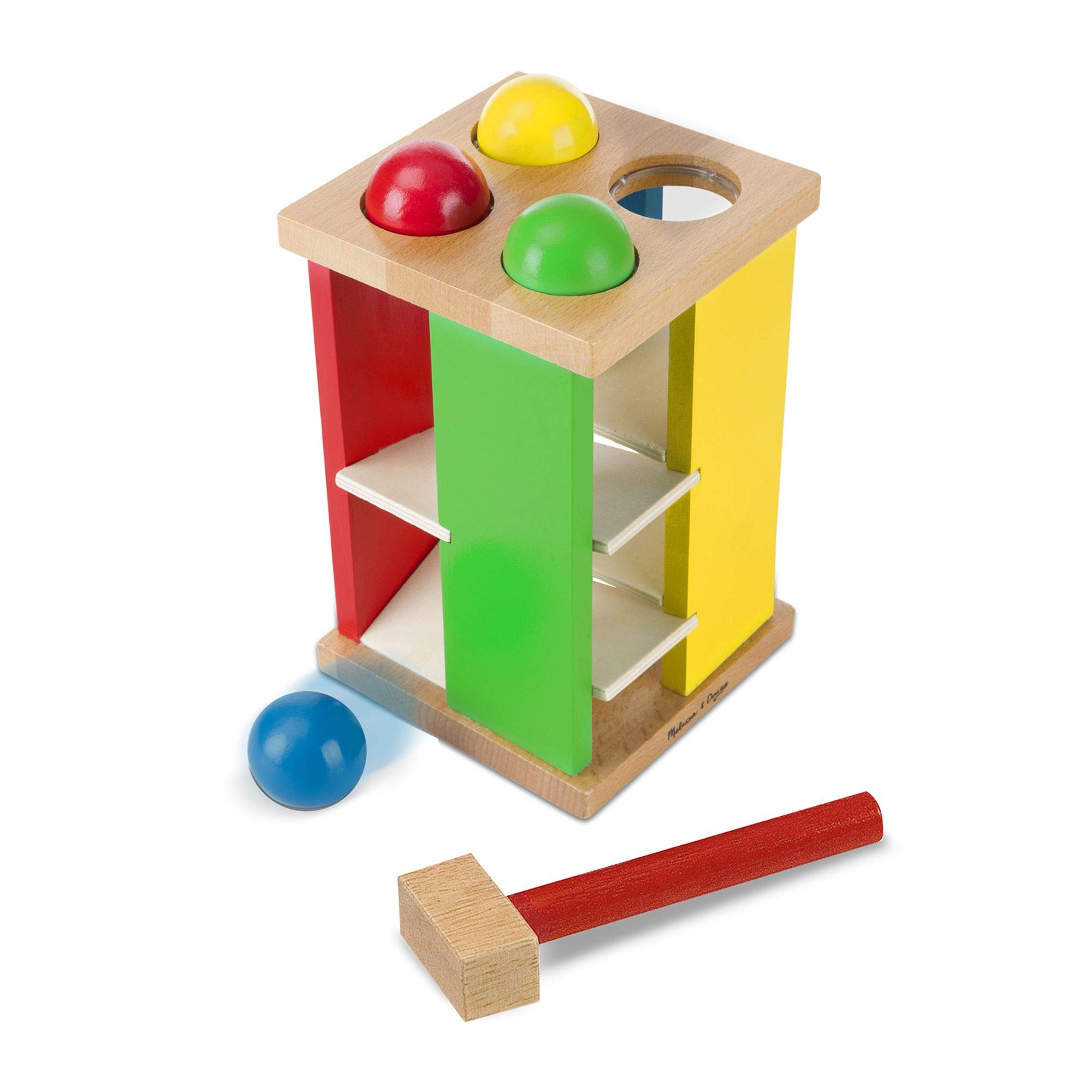 """Melissa & Doug Pound & Roll Tower, Developmental Toy, Classic Pounding Toy, Bright-Colored Pieces, Durable Construction, 10"""" H x 5.65"""" W"""