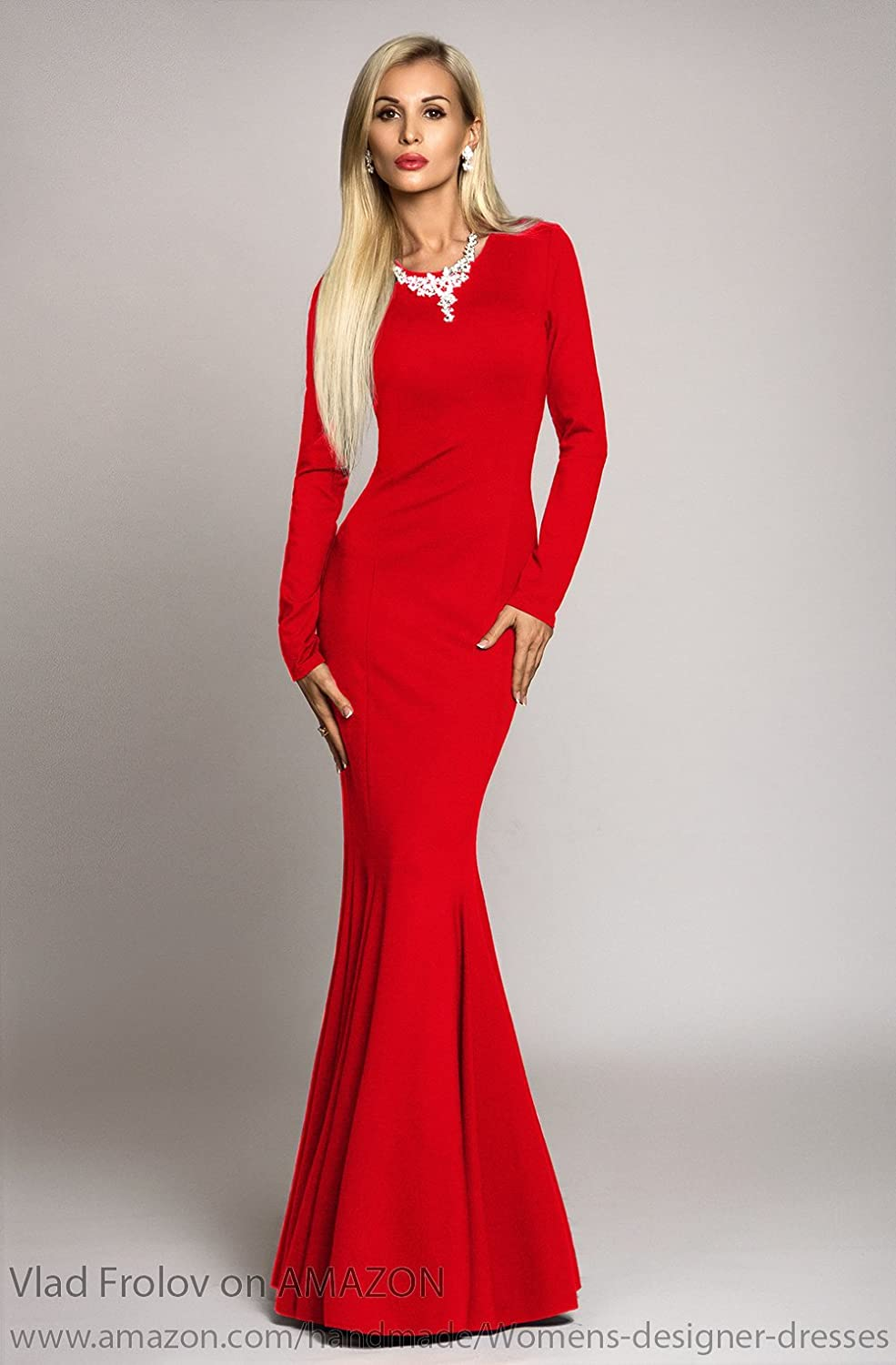 ecbed33a518 Amazon.com  Long red dress in mermaid style