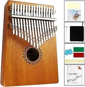 Kalimba Thumb Piano 17 Keys with mahogany Wood Portable Mbira Finger Piano Gifts for Kids and piano Beginners Professional (Matte brown)