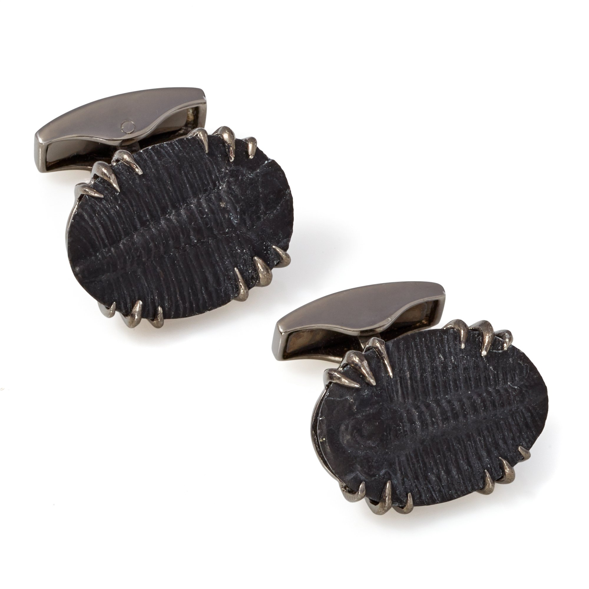 Tateossian Stones of the World Limited Edition Silver Fossil Coral Cufflinks
