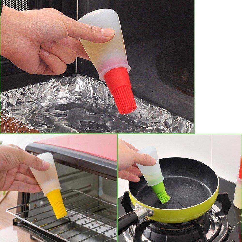 60ml Silicone Oil Bottle With Brush Baking BBQ Basting Brush Pastry Oil Brush (Blue) HOVUK
