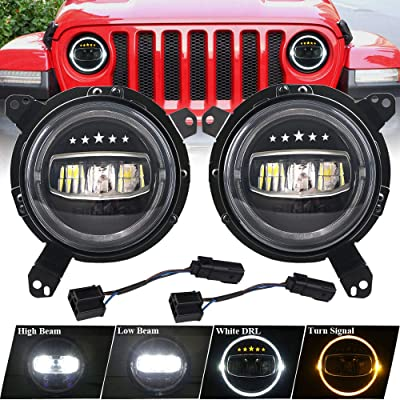 DDUOO Jeep Wrangler JL Headlights, W/Y Halo Headlights with Star Logo + 9inch All-Directional Mounting Bracket Adapter for Jeep Wrangler JL JLU 2020 2020: Automotive