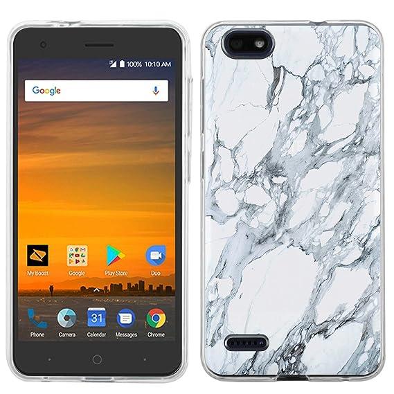 hot sale online 9602f c6b54 ZTE Blade Force case - [White Marble] (Clear) PaletteShield Soft Flexible  TPU gel skin phone cover (fit ZTE Blade Force/ Warp 8)