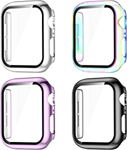GEAK Compatible with Apple Watch Screen Protector 40mm, Full Coverage Hard PC Bumper Cover for iWatch 40mm Series 6/5/4/SE Women Men 4pack Black/Lavender/Colorful/Silver