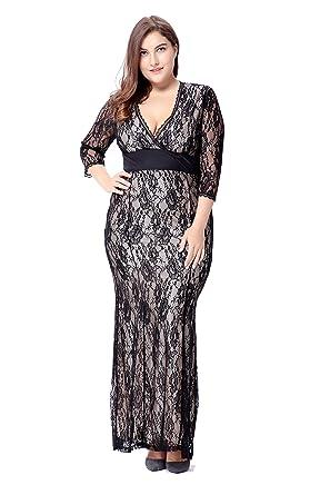 d01e5e202b3e5 Lalagen Women s Women s Plus Size Lace 3 4 Sleeve Wedding Evening Maxi Dress  Black 2XL