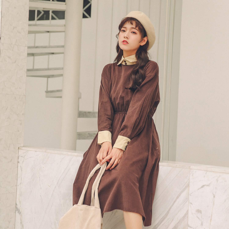 48560ce3f2 Shirt Dress Women Long Sleeve Long Corduroy Dresses Coffee.Khaki Vestidos,  Coffee, One Size at Amazon Women's Clothing store: