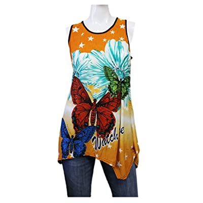 Si Rou Women's Orange Fade Sleeveless Top with Multi-Colored Butterflies (L/XL): Toys & Games
