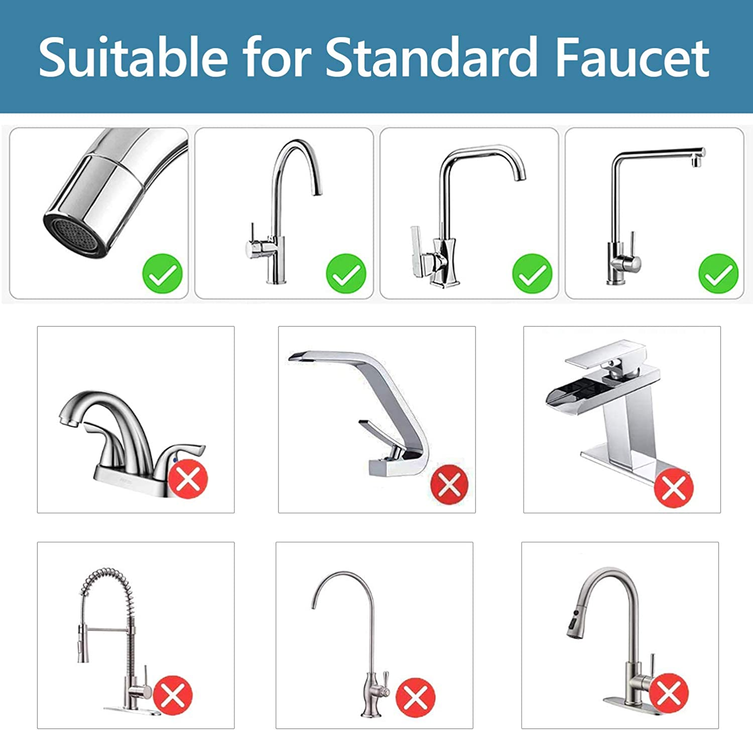 Jricoo Faucet Water Filter, 304 Stainless Steel Water Filtration System,High Water Flow Tap Water Purifier for Kitchen,Removes Lead, Flouride & Chlorine - Fits Standard Faucets: Home & Kitchen