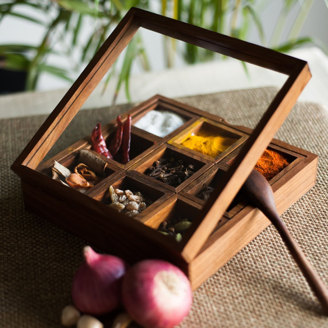 eb17303e1f76 ExclusiveLane Spice Box with Container & Spoon in Sheesham Wood - Spice  Rack Spice Holders Masala Container