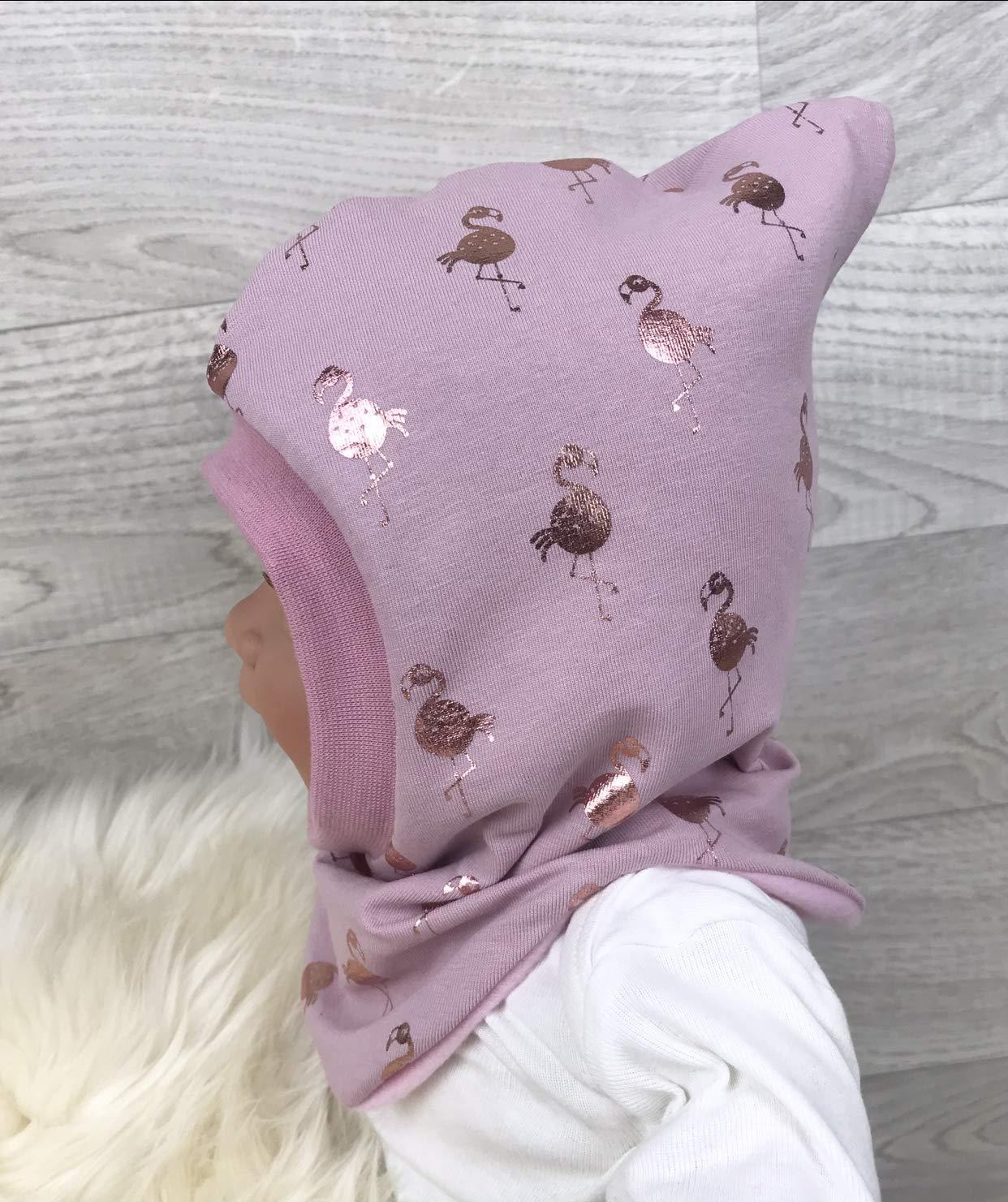 m/ütze baby M/ädchen schalm/ütze Jersey Fleece Gr 40-56 Flamingo rosegold altrosa kinderm/ütze halssocke Schlupfm/ütze,M/ütze und loop