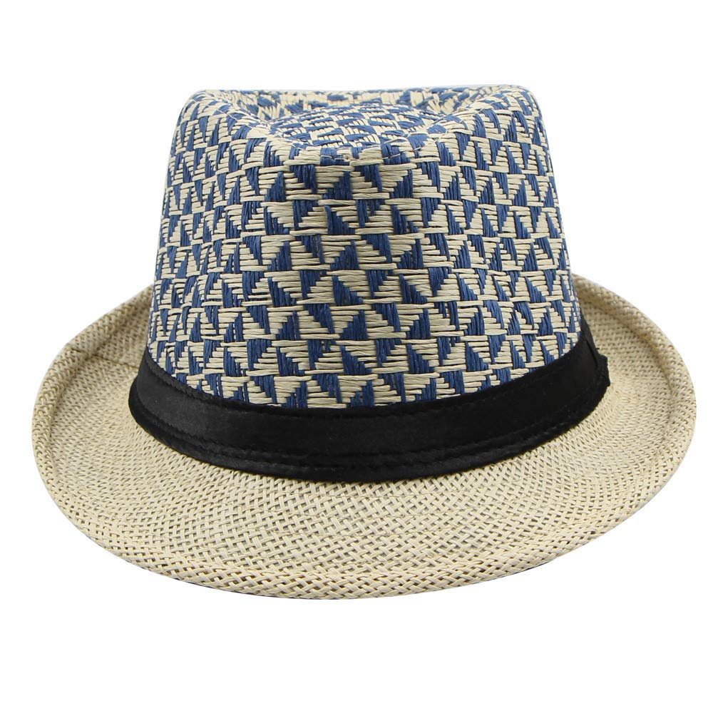 YQZB Men Sun Hat Wide Brim Straw Plaid Curled Fisherman Hats Spring Summer Fedora Jazz Holiday Cap
