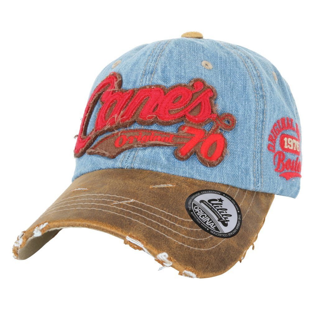 ililily Cane's Distressed Vintage Embroidered Baseball Cap Snapback Trucker Hat