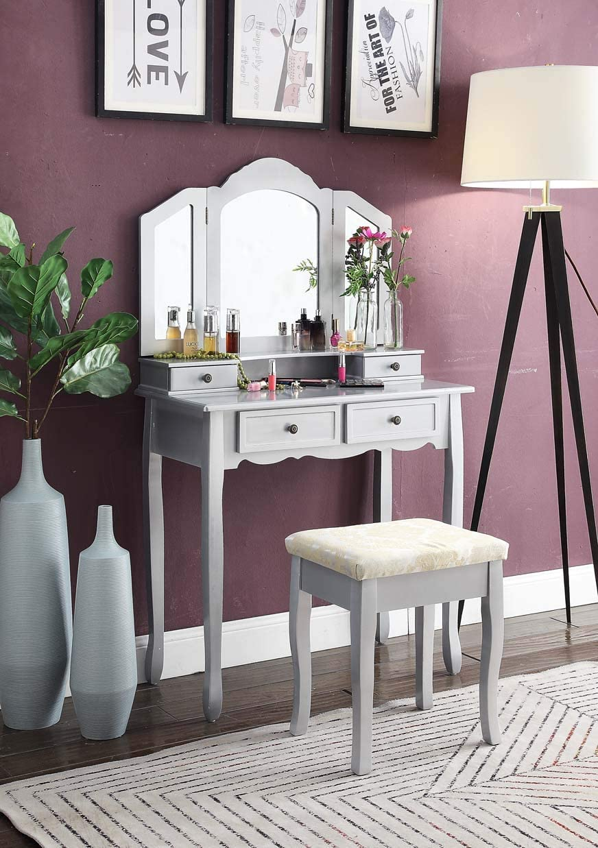 Roundhill Furniture Sanlo Wooden Vanity, Make Up Table and Stool Set, Silver
