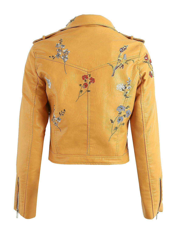 Simplee Apparel Femmes Blouson Revers Floral Brodé Faux Cuir
