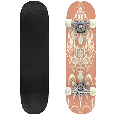 """Abstract Watercolor Illustration of Flowers in Vector Format Outdoor Skateboard 31""""x8"""" Pro Complete Skate Board Cruiser 8 Layers Double Kick Concave Deck Maple Longboards for Youths Sports : Sports & Outdoors"""