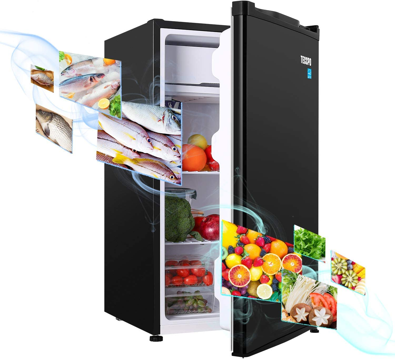 Compact Refrigerator, TECCPO 3.2 Cu.Ft, Energy Star, Super Quiet, Reversible Door, Mini Fridge with Freezer, for Dorm, Bedroom, Office, Apartment, Black -TAMF06