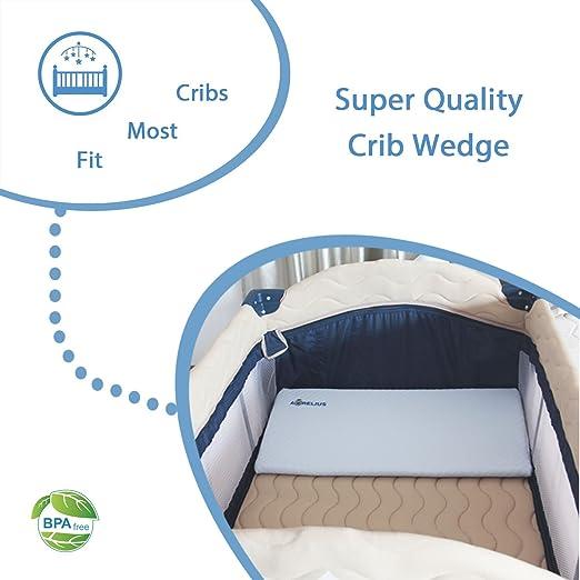 Amazon.com  Aurelius Universal Crib Wedge for Baby Mattress Memory Foam Sleep Pillow 26 ×13 ×3  Light Blue  Baby  sc 1 st  Amazon.com & Amazon.com : Aurelius Universal Crib Wedge for Baby Mattress ...