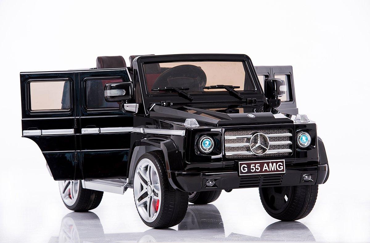 Mercedes G AMG, Negro brillante, los niños del coche eléctrico, coche niños, 2x motor, batería de 12 V, con mando a distancia, Ruedas EVA Suave