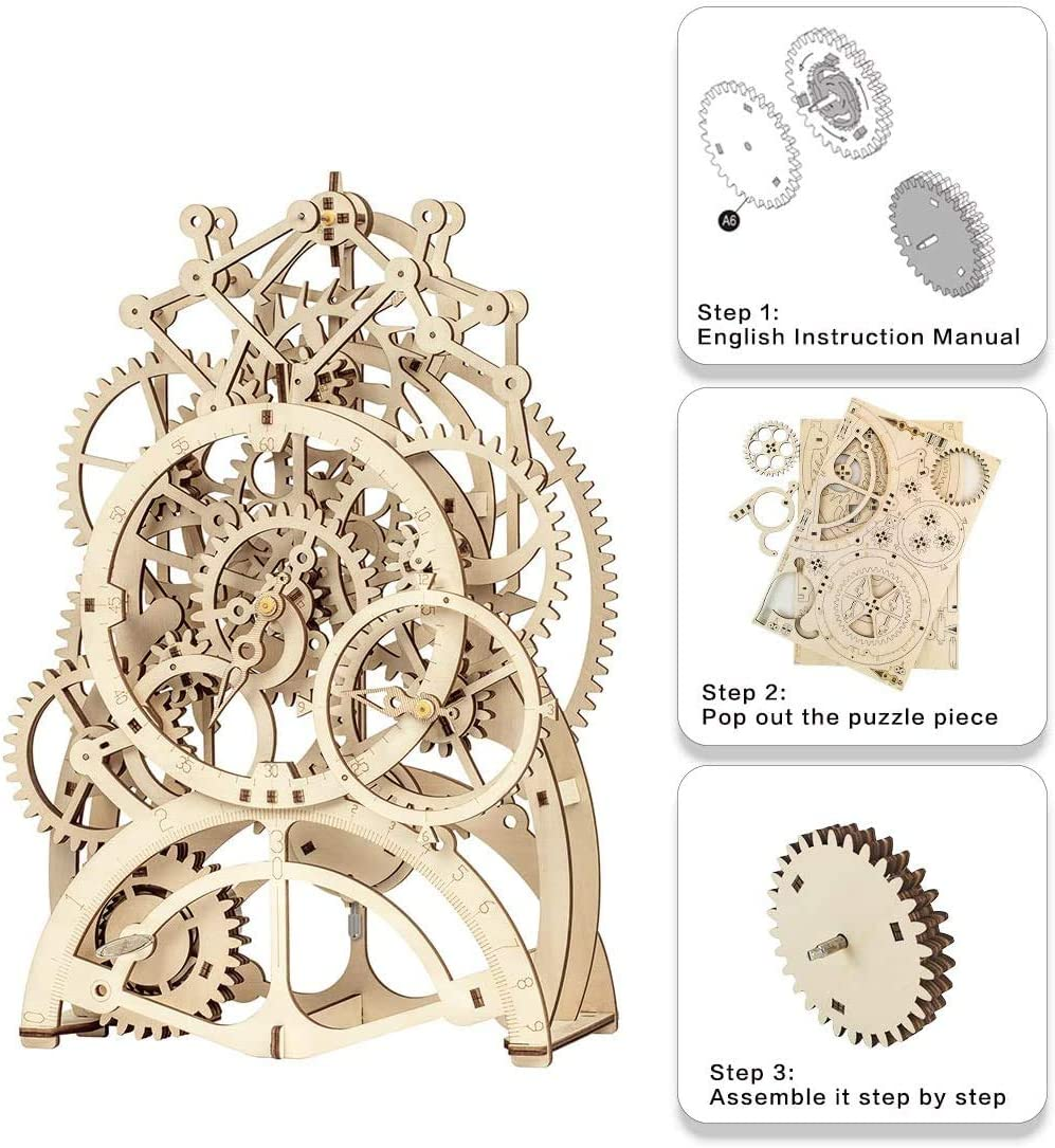 Rolife 3D Wooden Puzzle Clock for Adults, Wood Craft Assembly Mechanical Model Kits, Home Decro Sets for Adult to Build, for Boys and Girls Ages 14+ (Pendulum Clock)