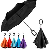 EEZ-Y Reverse Inverted Windproof Umbrella - Upside Down Umbrellas with C-Shaped Handle for Women and Men - Double Layer…