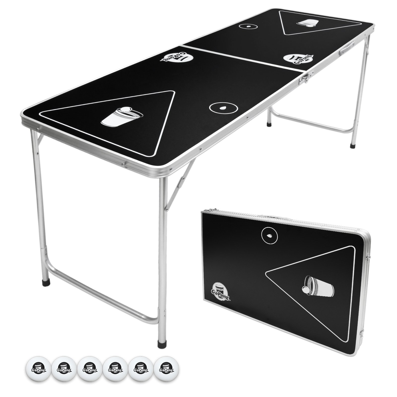 GoPong 6-Foot Portable Folding Beer Pong / Flip Cup Table (6 balls included) by GoPong