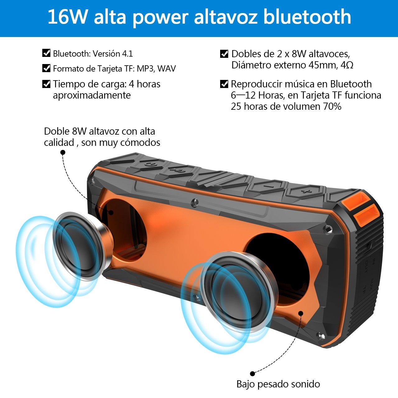 Altavoz Bluetooth Portátil 16W IPX6 Impermeable Estéreo Altavoces Inalámbrico Bajo Estupendo Bateía 4500mAh Altavoz Inalámbrico Portátil Llamadas Manos ...