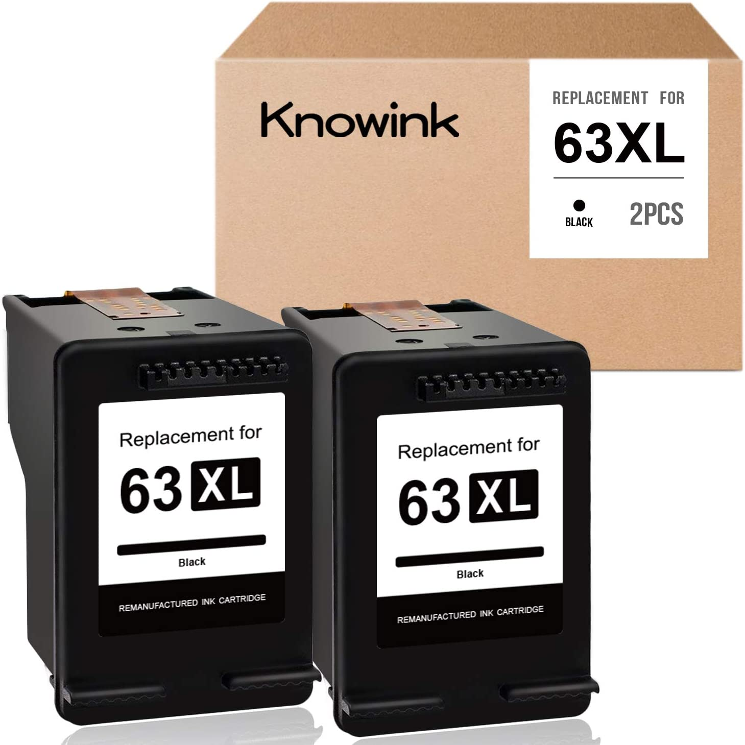 KNOWINK Remanufactured Ink Cartridge Replacement for HP 63 XL 63XL Black High Yield Use with OfficeJet 3830 3630 3631 3632 4650 4652 4655 5252 5255 5258 DeskJet 1112 2130 2132 Envy 4520 4512 (2Black)