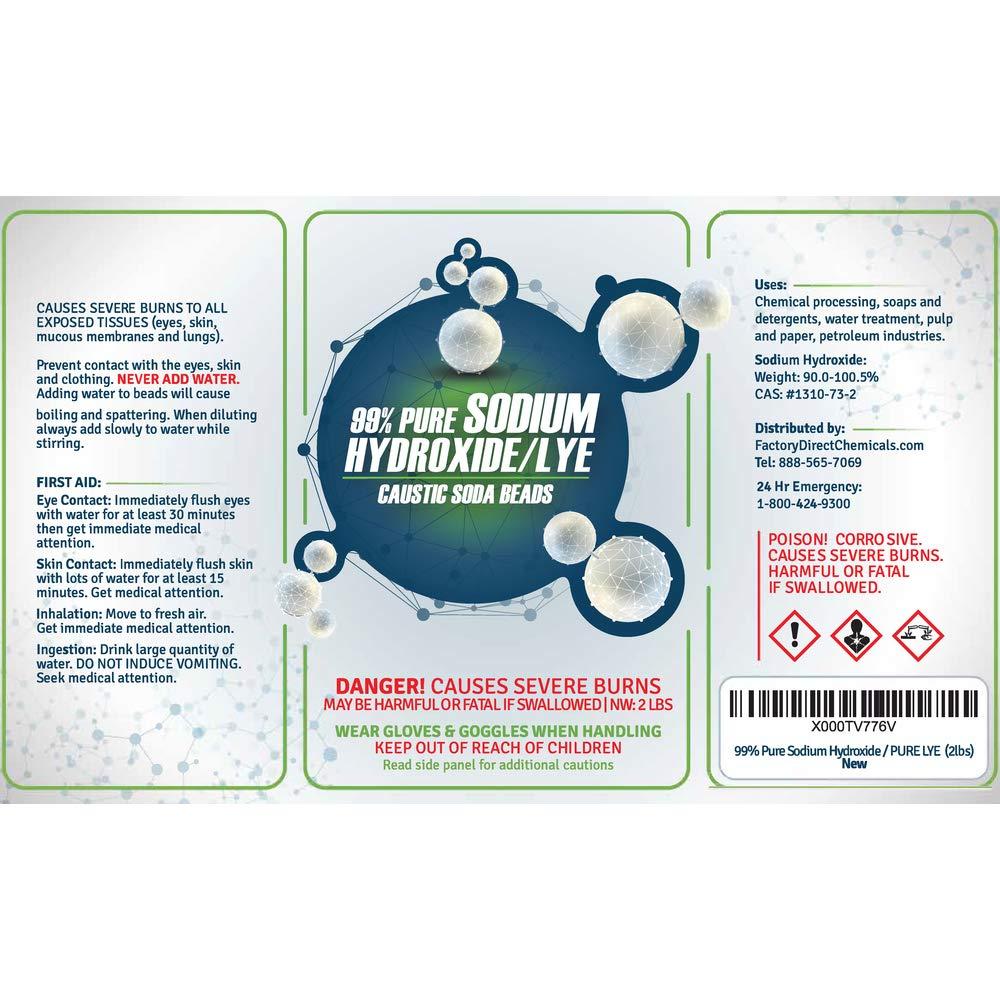 FDC Pure Sodium Hydroxide Lye for Soap Making | Lye Drain Opener | Caustic Soda Beads | Pure Lye - 6 x 2 LB Jar Case by FDC (Image #2)