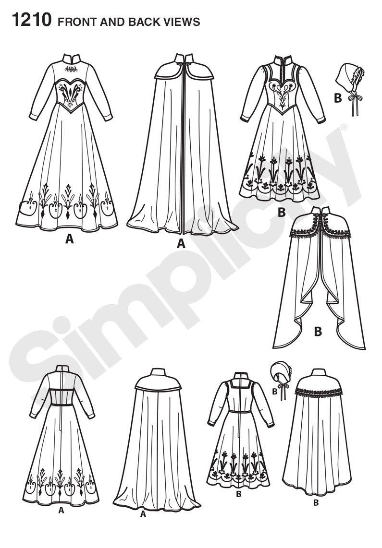 Simplicity 1210 Tamaño R5 Disfraces de Frozen de Disney para Mujer ...