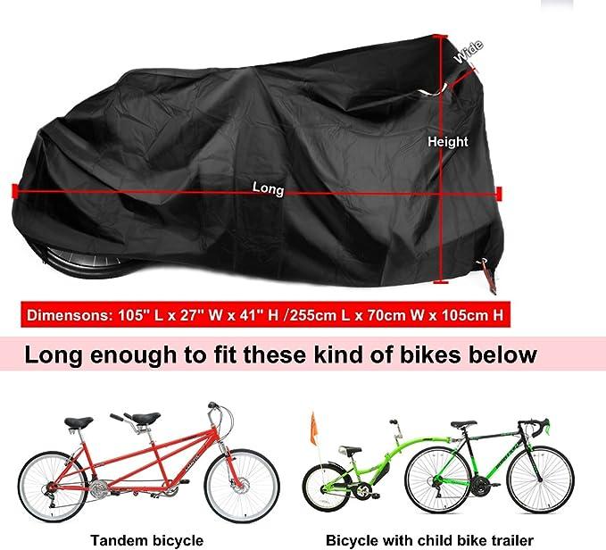 Kotivie Tandem Bicycle Cover Extra Long Bike Storage 2 Seater Trailer Waterproof