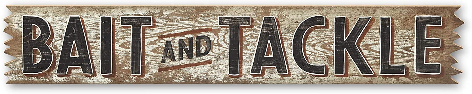 Open Road Brands Bait and Tackle Fishing Wood Wall Décor for Garage, Cabin, Lake House or Man Cave