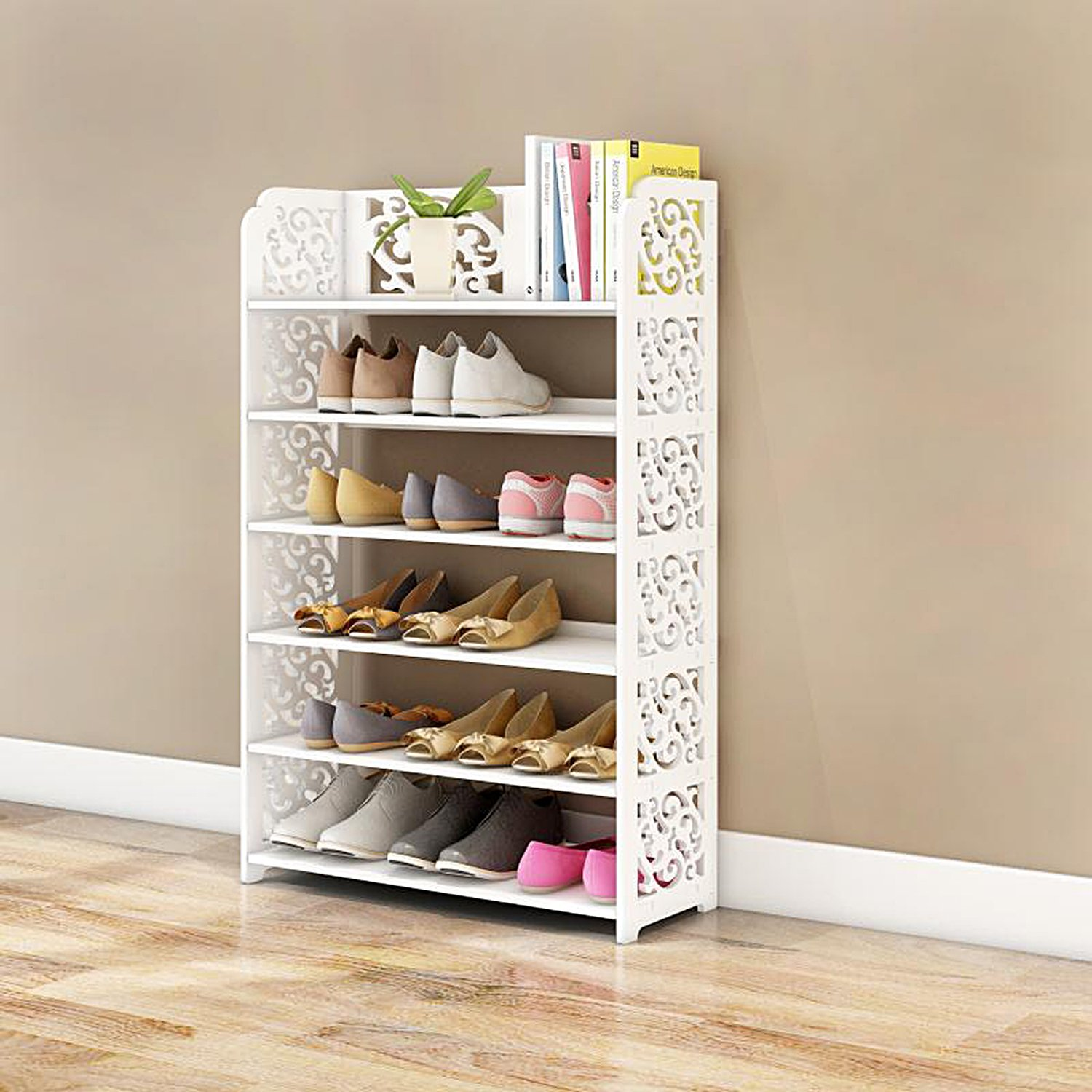 DL furniture - WPC Multipurpose Shoe Rack & Book Shelf L23.5'' x W9.5'' x H38'' 6 Tier Tall & Wide, Environmental Friendly Material | White… by DL furniture (Image #2)