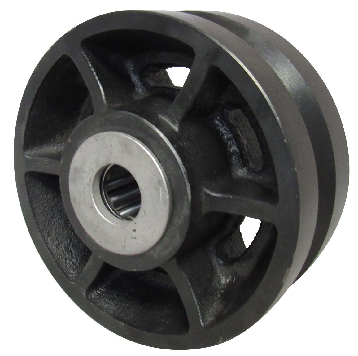 RWM Casters VIR-0625-12 6'' Diameter X 2-1/2'' Width Cast Iron V-Groove Wheel with Straight Roller Bearing, 2500 lbs Capacity