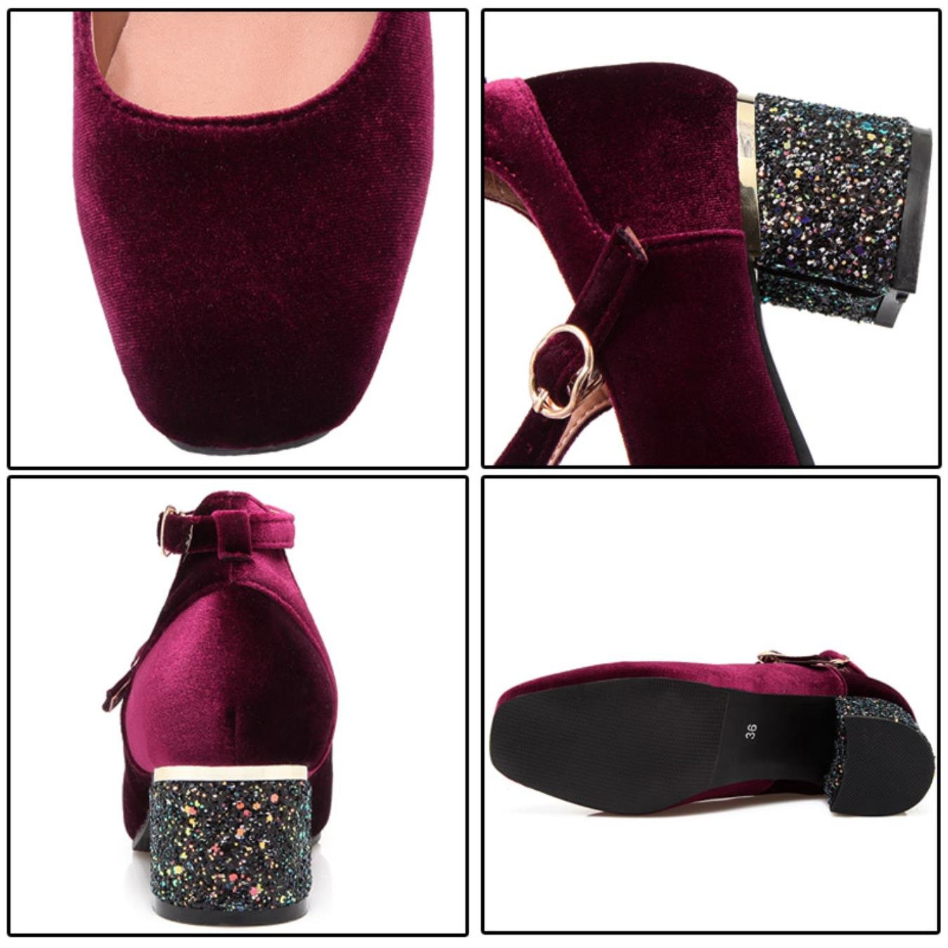 Phoentin green ankle strap mary jane buckle velvet retro womens shoes