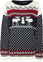 Womens Reindeer Print Pattern Knitted Ladies Christmas Sweater Jumper - Navy Blue - 10-12