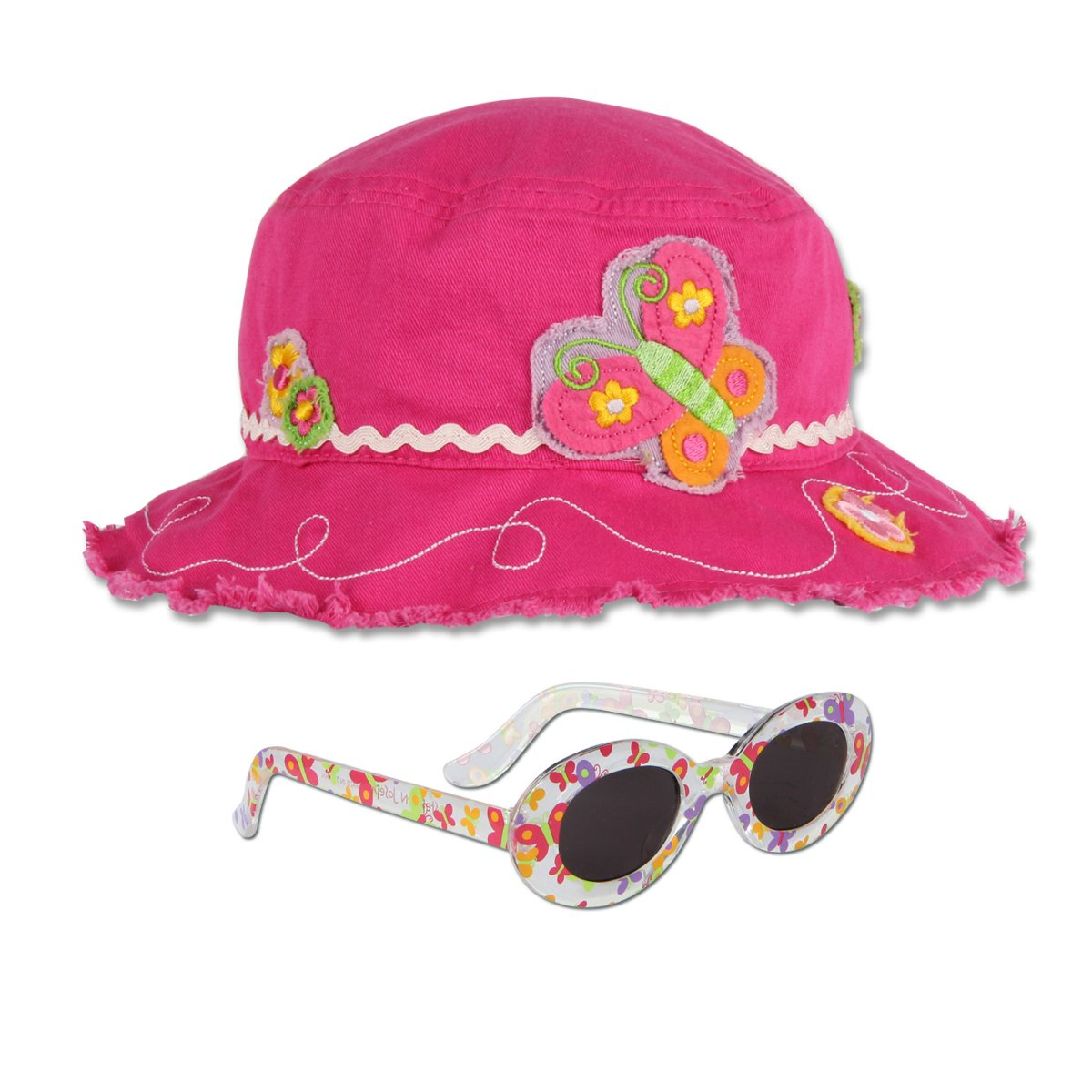 Stephen Joseph Butterfly Bucket Hat and Butterfly Sunglasses - Sun Hats for Kids