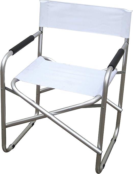 Sedia Regista Alluminio Offerte.Sedia Regista In Alluminio E Pvc 600d Colore Bianco Amazon It