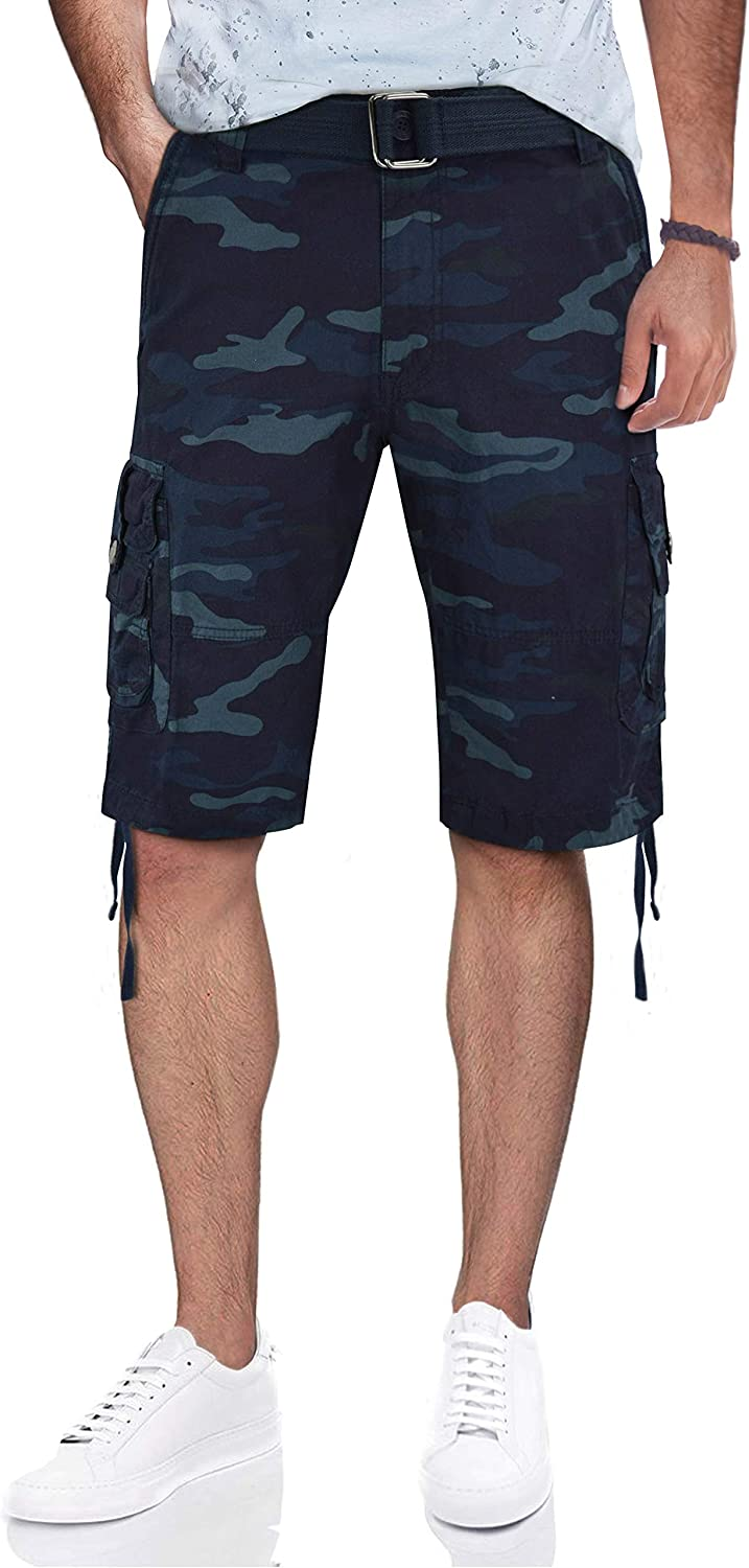 X RAY Mens Belted Cargo Shorts Relaxed Fit Casual Tactical Cargo Shorts for Men