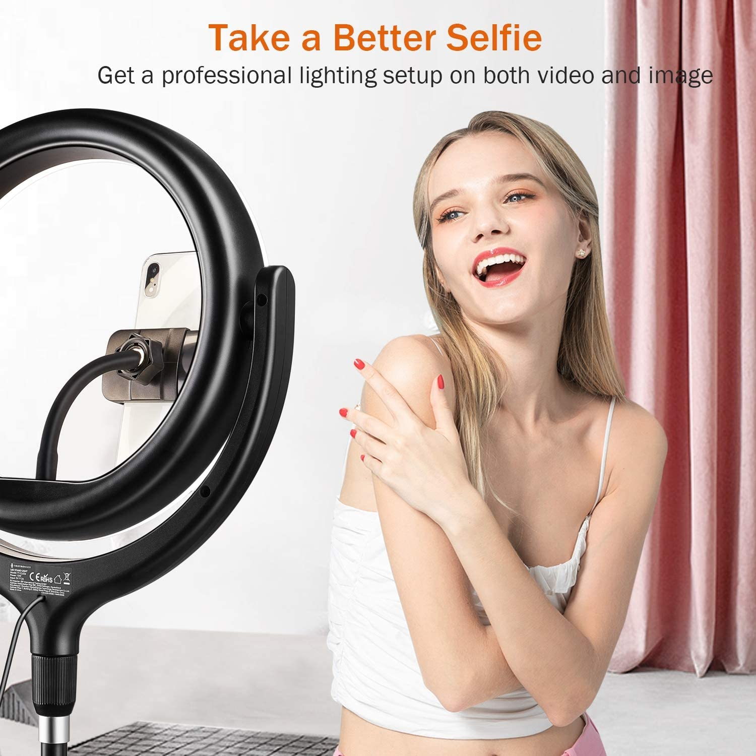 Make Up Dimmable Led Camera Ring Light for Live Streaming TaoTronics 10 Selfie Ring Light with 61 Tripod Stand 2 Phone Holders and Bluetooth Remote Control Photography YouTube Video