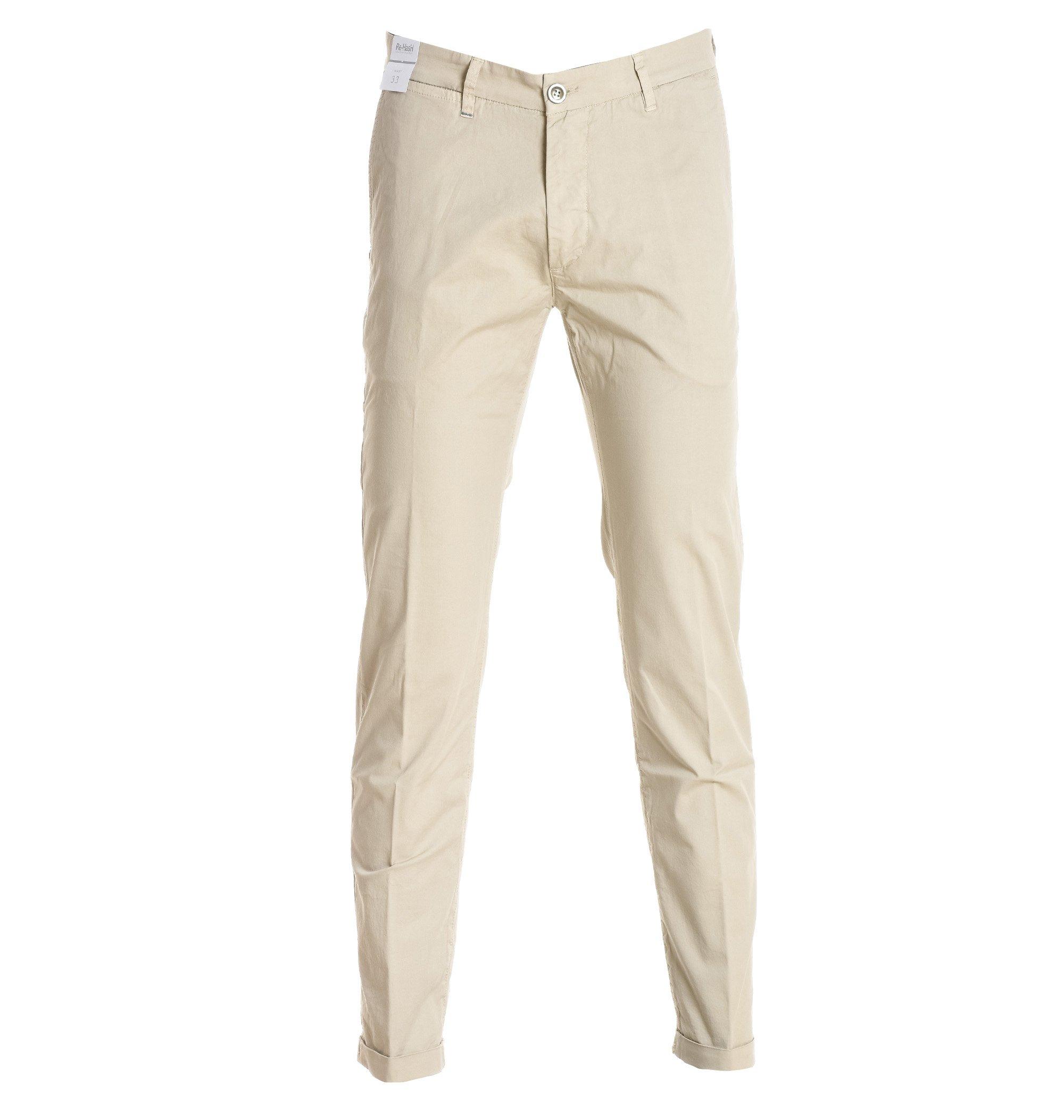 RE-HASH Men's P2492104bw58990439 White Cotton Pants