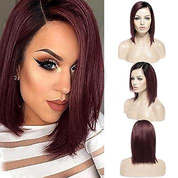 BOB Perruque Femme Vrai Cheveux Naturel Lace
