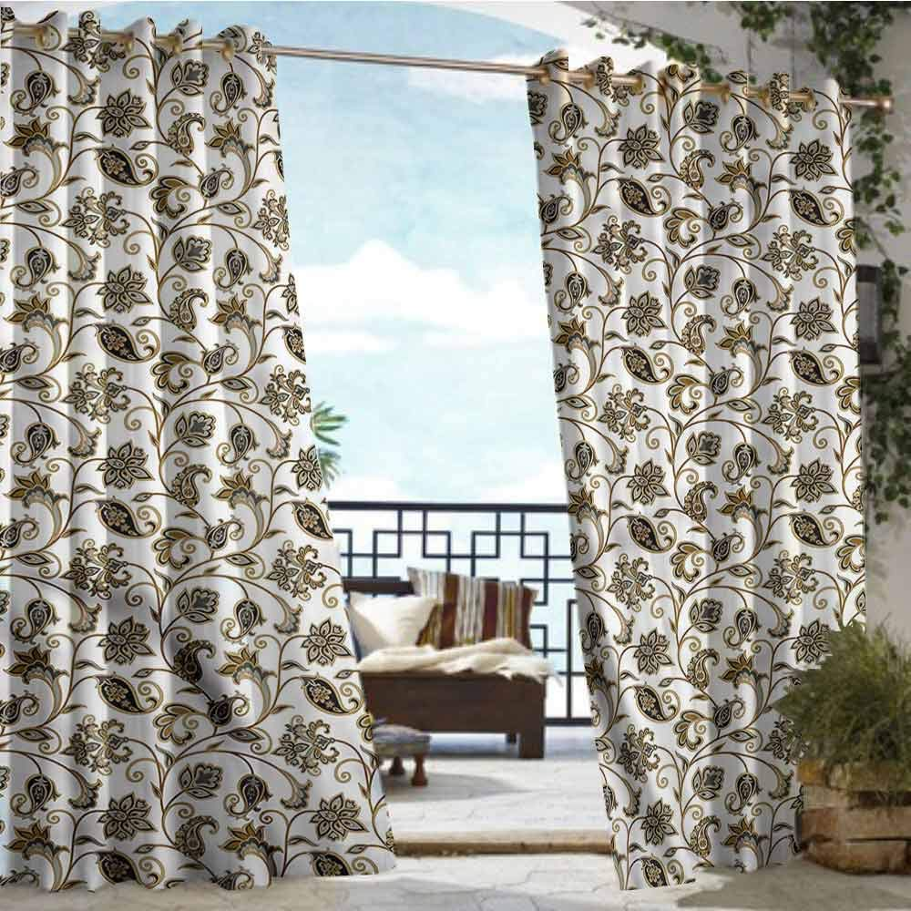 crabee Outdoor Privacy Curtain for Pergola Arabic,Oriental Culture Motifs,W72 xL96 for Front Porch Covered Patio Gazebo Dock Beach Home