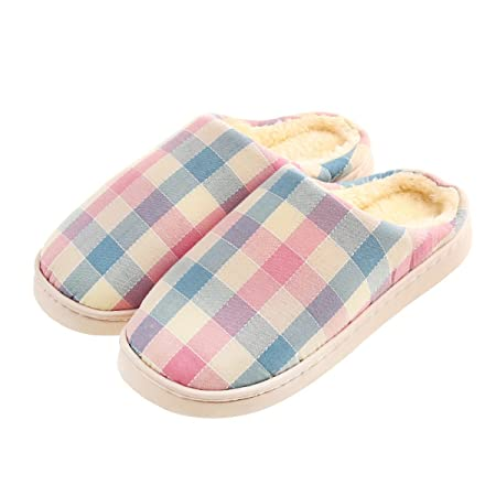 edb8df4aed7 Omiyrk Autumn And Winter Warm Cotton Slippers Plaid Puppy Shoes Platform  Shoes Couple Home Pregnant Women