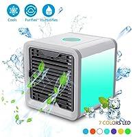 Climatiseur Portable - LoiStu Ventilateur USB Muitifonction 3 EN 1 Mini Climatiseur Humidificateur Purificateur 7 LED Couleurs pour Maison/Bureau/Camping Puissance (vert)