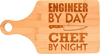 Engineer By Day Chef By Night Cutting Board Bamboo