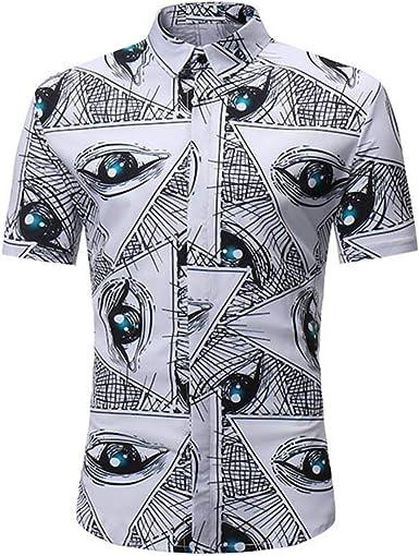 Auspiciousi Camisa de Manga Corta de Verano para Hombre Slim Fit Camisa de Playa con Estampado de Ojos Grandes, Hombres, Mujeres Camisas Casuales: Amazon.es: Ropa y accesorios