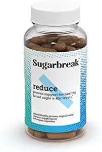 Sugarbreak Reduce Pills | Maintain Healthy A1c & Blood Sugar Levels Naturally with Gymnema Sylvestre | Daily Supplement (60 Capsules)