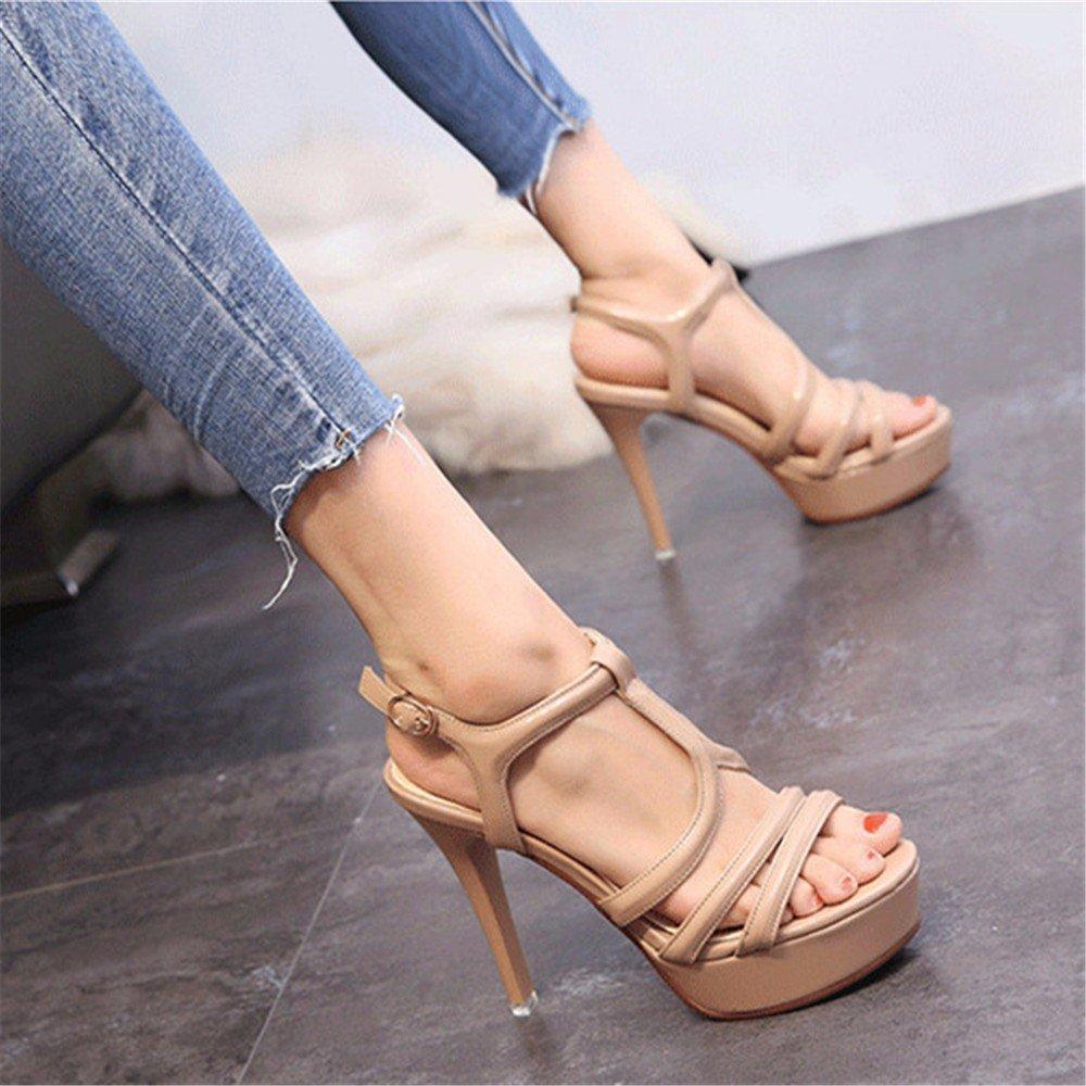C YMFIE Mode d'été Sexy tempérament Ouvert Orteil Sandales à Talons Hauts travaillent Chaussures Chaussures de Mariage Chaussures de soirée 37 EU