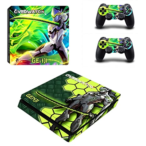 MightyStickers - OW Overwatch GENJI PS4 Slim Console Wrap Cover Skins Vinyl  Sticker Decal Protective for Sony PlayStation 4 Slim & Controller